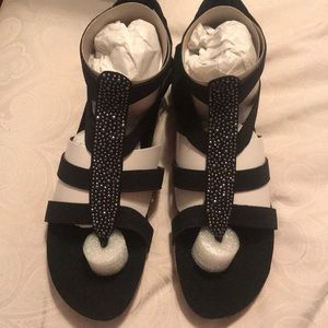 Black Sandals with silver detail new never worn